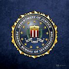 Federal Bureau of Investigation - FBI Emblem 3D on Blue Velvet by Captain7