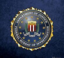 Federal Bureau of Investigation - FBI Emblem 3D on Blue Velvet by Captain7