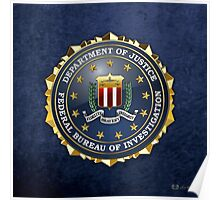 Federal Bureau of Investigation - FBI Emblem 3D on Blue Velvet Poster