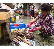 preparing fish Photographic Print