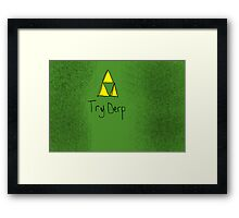 "Tri-Force ParodyPoster ""TryDerp"" Framed Print"