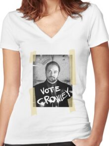 VOTE CROWLEY Women's Fitted V-Neck T-Shirt