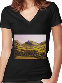 Mountain River View Women's Fitted V-Neck T-Shirt