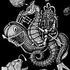 Poseidon ink pen surreal drawing by Vitaliy Gonikman