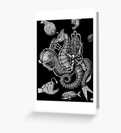 Poseidon ink pen surreal drawing Greeting Card
