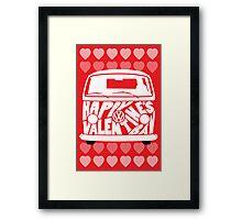 Valentine's Day VW Camper Bay Hearts White Framed Print