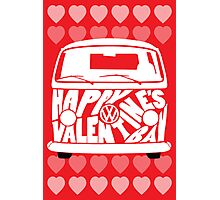 Valentine's Day VW Camper Bay Hearts White Photographic Print