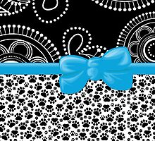 Dog Paws, Traces, Dots -  Ribbon and Bow - White Black Blue by sitnica