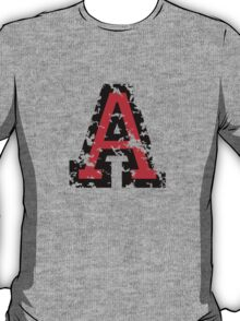 Letter A (Distressed) two-color black/red character T-Shirt