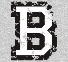Letter B (Distressed) two-color black/white character One Piece - Long Sleeve