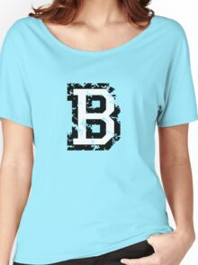 Letter B (Distressed) two-color black/white character Women's Relaxed Fit T-Shirt