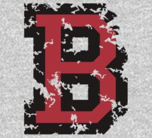 Letter B (Distressed) two-color black/red character by theshirtshops