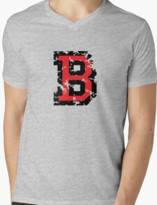Letter B (Distressed) two-color black/red character Mens V-Neck T-Shirt