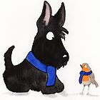 Scottie Dog & Robin by archyscottie