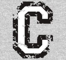 Letter C (Distressed) two-color black/white character One Piece - Long Sleeve