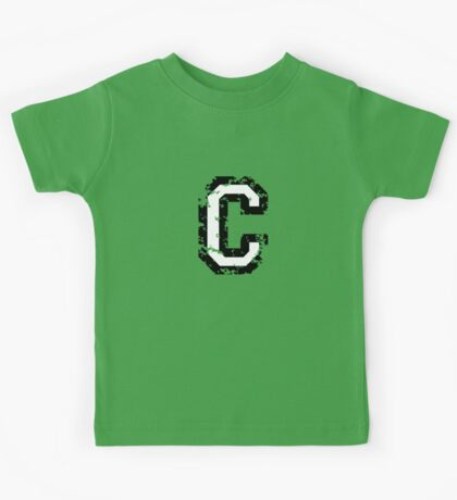 Letter C (Distressed) two-color black/white character Kids Tee