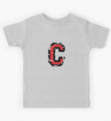 Letter C (Distressed) two-color black/red character Kids Tee