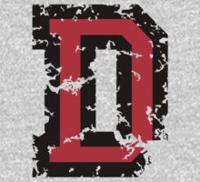 Letter D (Distressed) two-color black/red character by theshirtshops