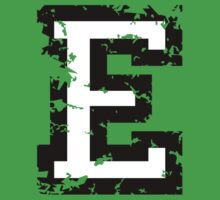Letter E (Distressed) two-color black/white character by theshirtshops