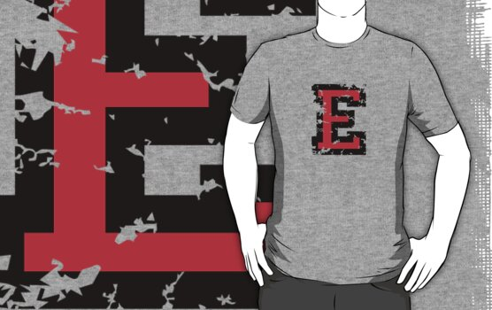 Letter E (Distressed) two-color black/red character by theshirtshops
