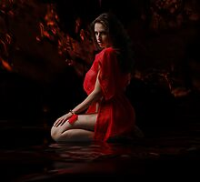 Dark Dreams  In Red Silk 2 by Sazzart