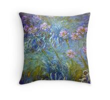 Agapanthus - Claude Monet  Throw Pillow