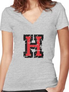 Letter H (Distressed) two-color black/red character Women's Fitted V-Neck T-Shirt
