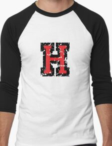 Letter H (Distressed) two-color black/red character Men's Baseball ¾ T-Shirt