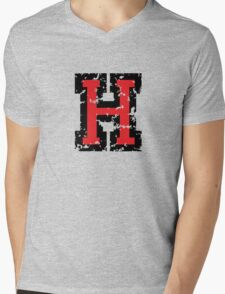Letter H (Distressed) two-color black/red character Mens V-Neck T-Shirt