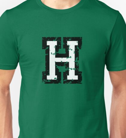Letter H (Distressed) two-color black/white character Unisex T-Shirt