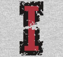 Letter I (Distressed) two-color black/red character Kids Tee