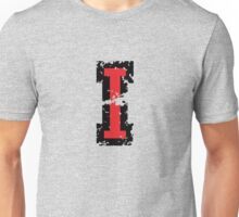 Letter I (Distressed) two-color black/red character Unisex T-Shirt