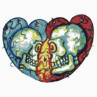 Couple of Hearts DoD Skulls by Heather Calderon