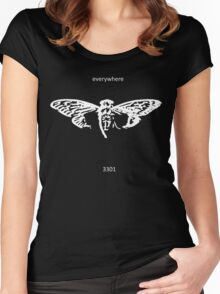 Cicada 3301 everywhere white Women's Fitted Scoop T-Shirt