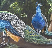 Peacocks In The Garden by Phyllis Beiser
