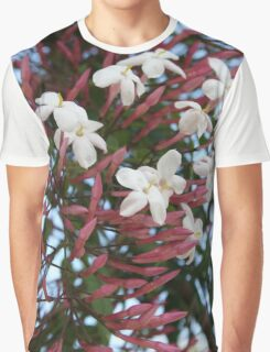 Pink Buds and Jasmine Blossom Close Up Graphic T-Shirt