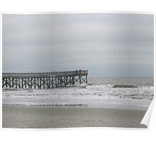 Isle of Palms Pier on a Cloudy Winter Day Poster