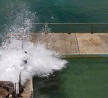 Terrifying waves crashing over pool edge by Jodie Johnson