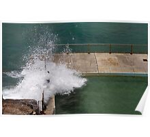 Terrifying waves crashing over pool edge Poster