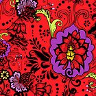 Flowers on Red by TinaGraphics