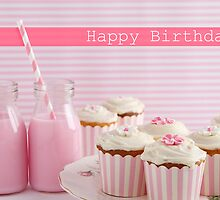 Pink cupcake retro happy birthday card by Jodie Johnson