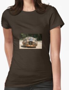 Young Spur Thighed Tortoise Looking Out of Its Shell Womens Fitted T-Shirt