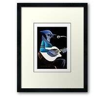 BLUE JAY PLAYING GUITAR TEE SHIRT & VARIOUS APPAREL.. Framed Print