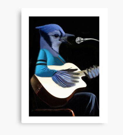 BLUE JAY PLAYING GUITAR TEE SHIRT & VARIOUS APPAREL.. Canvas Print
