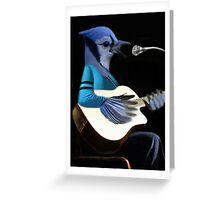 BLUE JAY PLAYING GUITAR TEE SHIRT & VARIOUS APPAREL.. Greeting Card