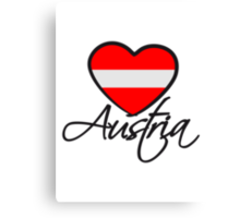 Austria Love Heart Canvas Print