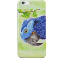 Blue Smiling Parrot on Green leaves Background iPhone Case/Skin