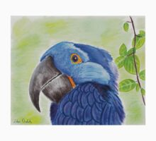Blue Smiling Parrot on Green leaves Background Kids Clothes