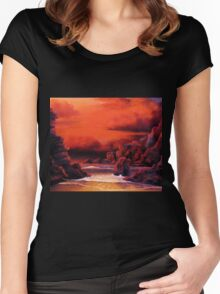 RED SKY SUNSET Women's Fitted Scoop T-Shirt