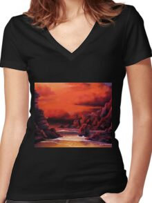 RED SKY SUNSET Women's Fitted V-Neck T-Shirt